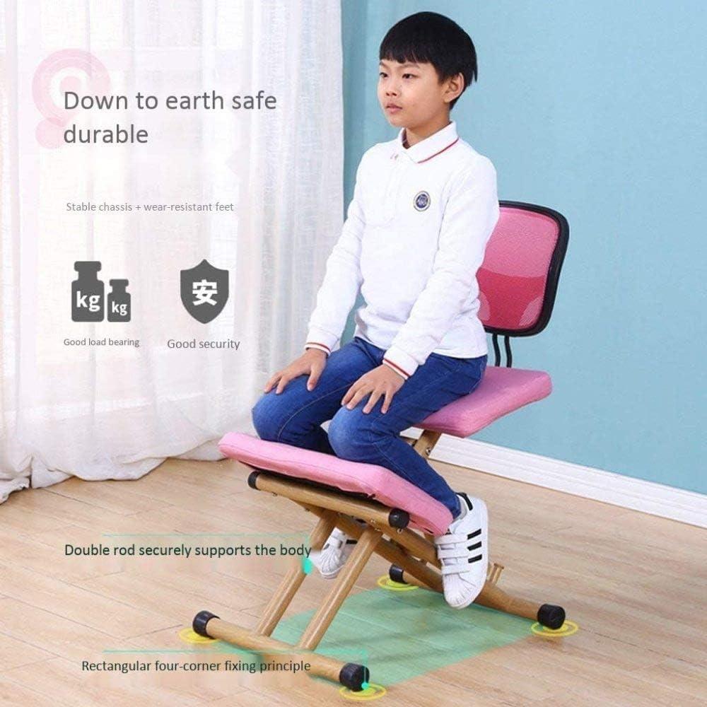 MRWW Améliorer Chaise de Bureau en Bois Posture, Ergonomique Tabouret Genoux, réglable en Hauteur avec Dossier, Aide à réduire Les maux de Dos noir