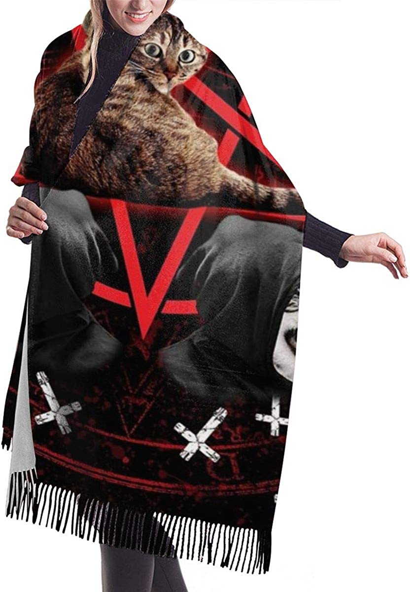 QBahoe Satanic Cat Pentagram Death Black Metal Cashmere Scarf for Women Men Lightweight Unisex Fashion Soft Winter Scarves Fringe Shawl Wrap
