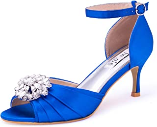SheSole Womens Low Kitten Heel Sandals Peep Toe Evening Wedding Bridal Shoes