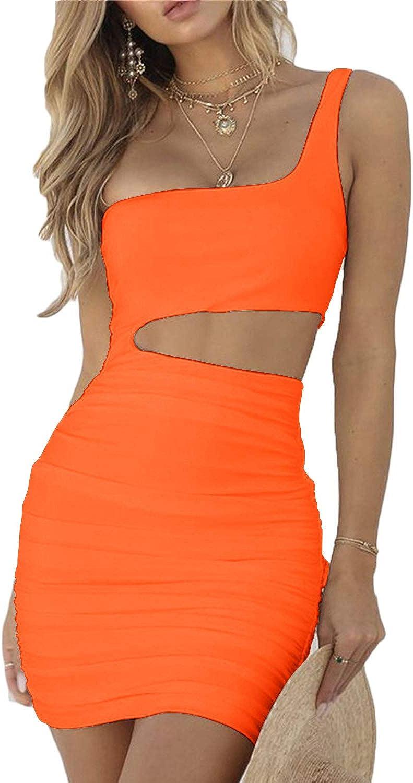 CHYRII Women's Sexy One Shoulder Sleeveless Cutout Ruched Bodycon Mini Club Dress