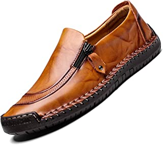 ENLEN&BENNA Men Casual Leather Shoes Dress Loafer Breathable Lightweight Driving Shoes Summer Slip On Moccasins Outdoor