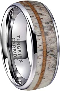 iTungsten 8mm Silver/Black/Rose Gold Tungsten Rings for Men Women Wedding Bands Deer Antler Koa Wood Turquoise Meteorite Inlay Domed Polished Shiny Comfort Fit