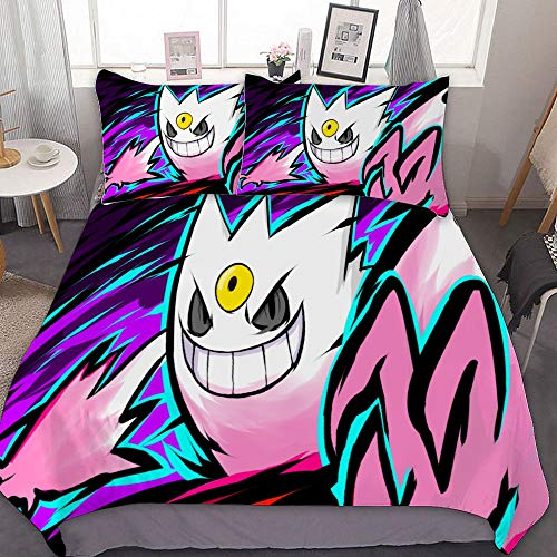 MEW Anime Bedding Duvet Cover Set,Twin (68x86 inch), Shiny Mega Gengar,3 Pieces Bedding Set,with Zipper Closure and 2 Pillow Shams, Cute Cartoon Bedroom Comforter Sets for Boys Girls