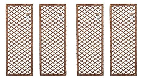 Ruddings Wood Pack of 4 x Willow Trellis Framed Panels - Climbing Plant Garden Wall Diamond Plant Patio Flower Honeysuckle Frame Trellis Support Screen