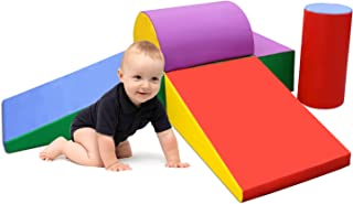 SURPCOS Climb and Crawl Activity Play Set, 6 Pieces Lightweight Foam Shapes for Climbing, Crawling and Sliding, Safe Foam Playset for Toddlers and Preschoolers, Rainbow