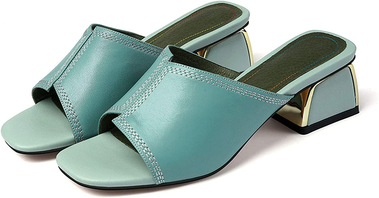goldsmyth Women Slippers Woman Genuine Leather Summer Slipper Woman Shallow Slippers High Heels