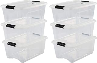 Iris Ohyama, lot de 6 boîtes de rangement empilables - New Top Box NTB-15 - Plastique, transparent, 15 L, 39,5 x 29 x 18,6 cm