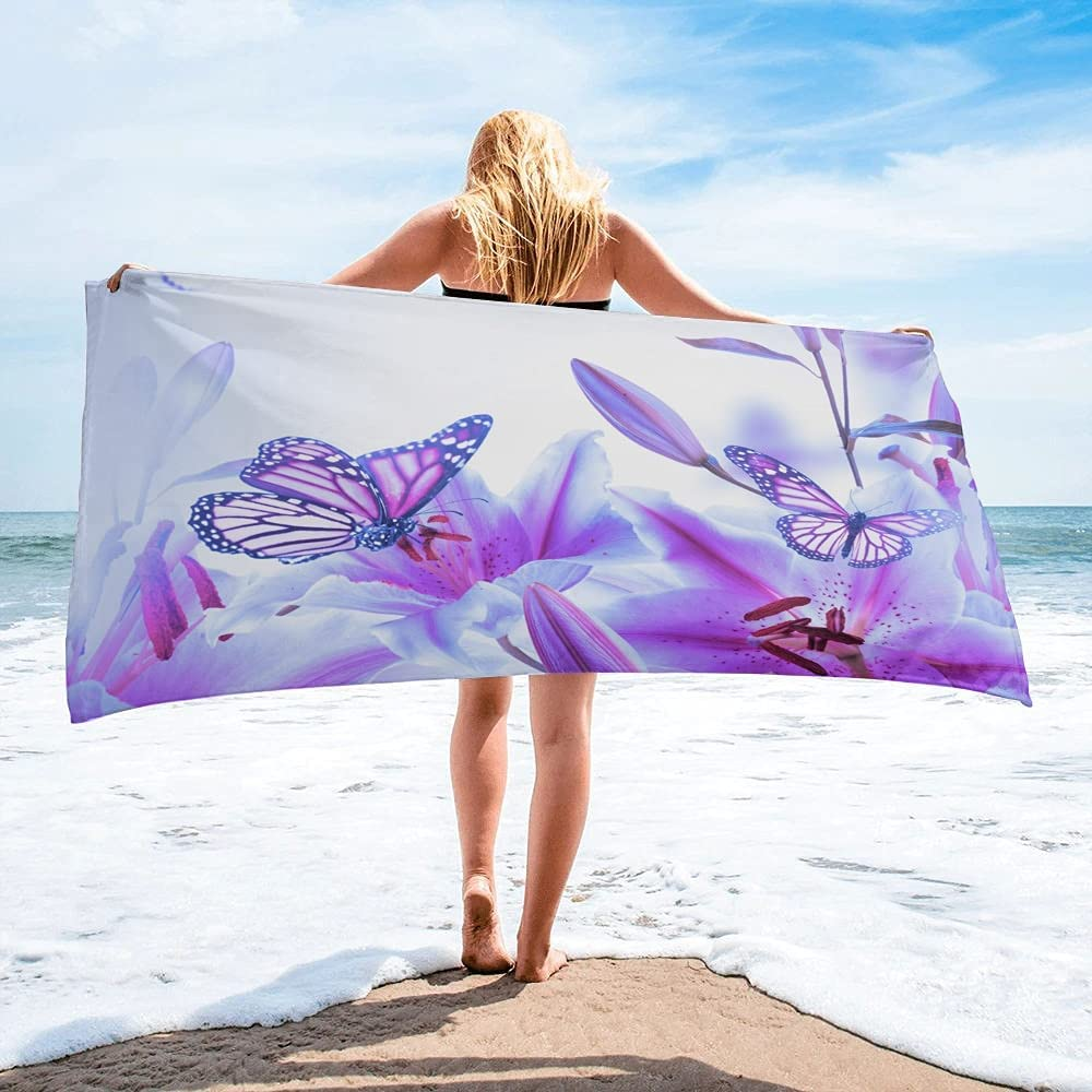 LINMING 5 ☆ very popular Virginia Beach Mall Purple Butterfly Lily Flower Towel Swimming Quick-D Bath