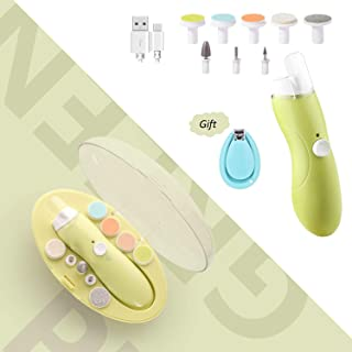 Rechargeable Nail File, Deyace Quiet and Safe Electric Baby Nail File,9 in 1 Nail Drill, Continuously Variable USB Charging for Newborn Infant Toddler Kids Women Adult Toes Fingernails (Mustard Green)