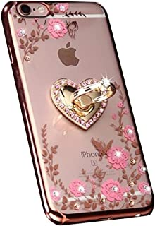iPhone 7 Plus Floral Crystal TPU Case-Lozeguyc Soft Slim Bling Plating Rubber Cover for iPhone 7 Plus 5.5 Inch with Rhinestone Diamond and Detachable 360 Ring Stand-Rose Gold and Pink