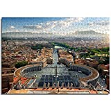 OKJK Rompecabezas Cuadrado del Vaticano e Italia para Adultos 1000 Piezas Decoración de la Sala Juguete Diversión Juego Madera Educación Exploración 75 cm x 50 cm