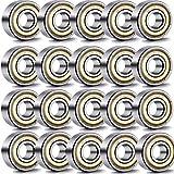 Mengger Roulement à billes double scellé métal 20 pièces 608 ZZ (8...