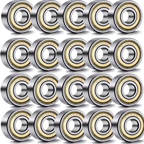 mengger Rodamiento de Bolitas Miniatura Metal Acero Bolas Doble blindaje Teniendo 20pcs 608ZZ 8 * 22 * 7 mm Skate Rodamientos de Bolas