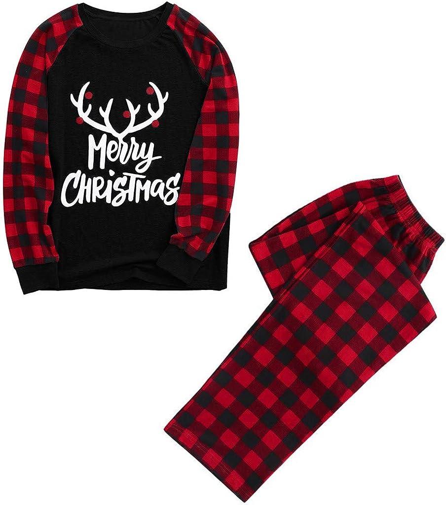 Jchen Christmas Family Matching Pajama Set Xmas Letter Elk Print Pyjamas Sleepwear Holiday Nightwear Homewear Outfits