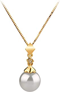 Georgia White 7-8mm AAA Quality Japanese Akoya 14K Yellow Gold Cultured Pearl Pendant For Women