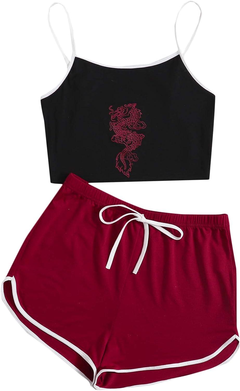 SweatyRocks Women's Nightwear Lingerie Strapy Crop Top and Short