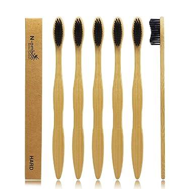 Hard Toothbrush Bamboo Toothbrush For Adult Manual Toothbrsuh Hard Bristles Pack Of 6
