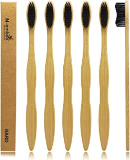 Hard Toothbrush Bamboo Toothbrush For Adult Manual Toothbrsuh Hard Bristles Pack Of 6