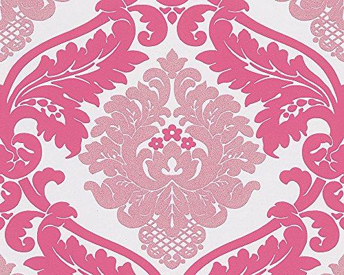 A.S. Création Vliestapete mit starkem Glitterauftrag Bling Bling Tapete neo barock 10,05 m x 0,53 m lila weiß Made in Germany 313935...