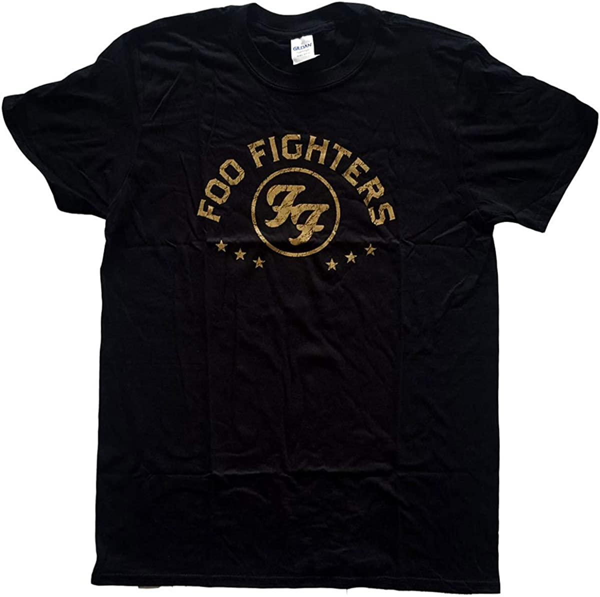 Foo Fighters Arched Star Hombre Camiseta Negro, Regular