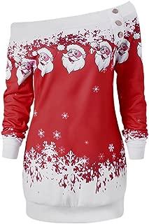 Women's Skew Neck Christmas Santa Claus Snowflake Pullover Sweatshirt