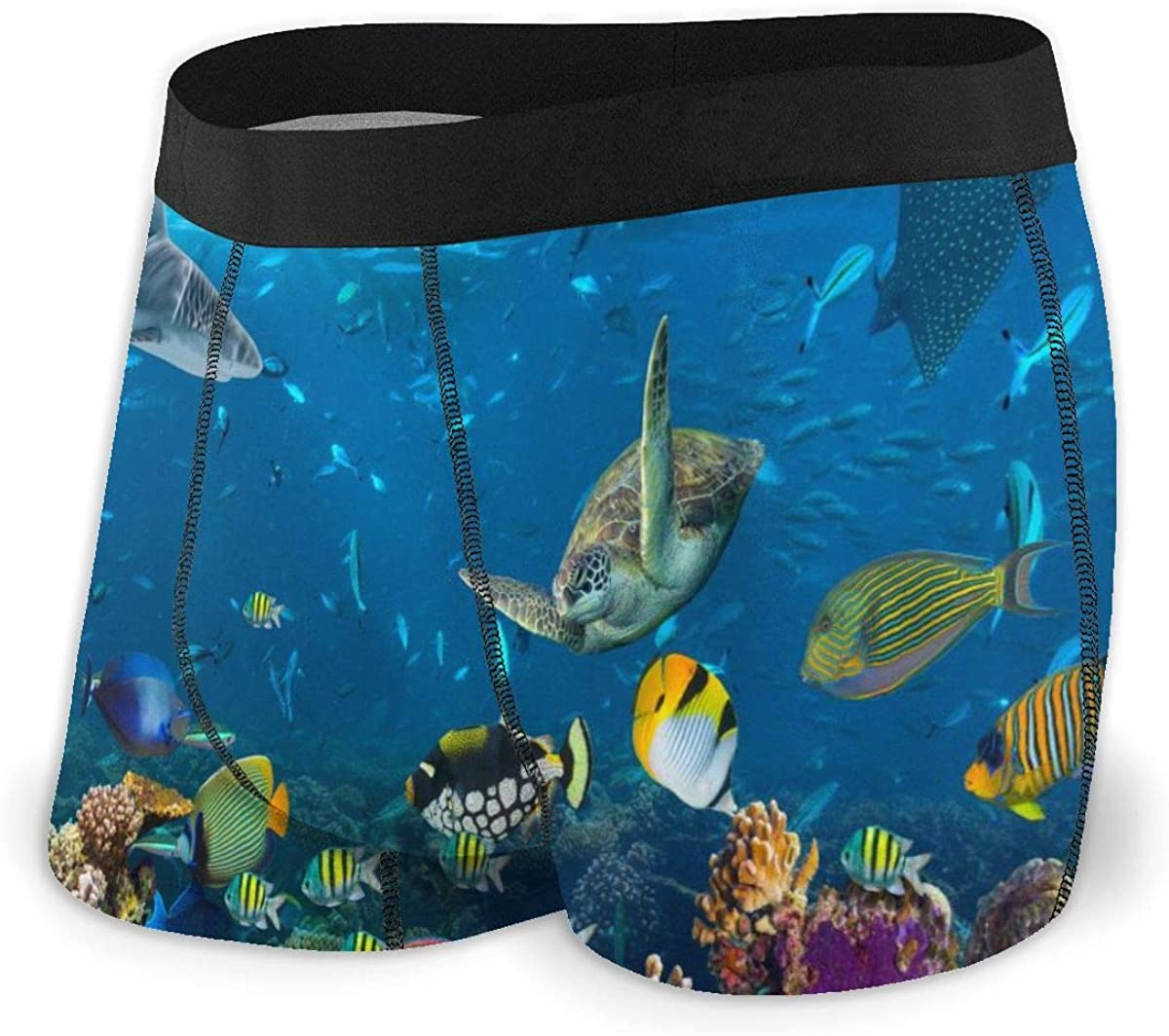 Mens Boxer Briefs Tropical Coral Shark Turtle Colorful Fish Breathable Underwear