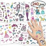 DYFFLE Meerjungfrau Party Tattoo Kinder Set, Meerjungfrau Kindergeburtstag - 240 Prinzessin...