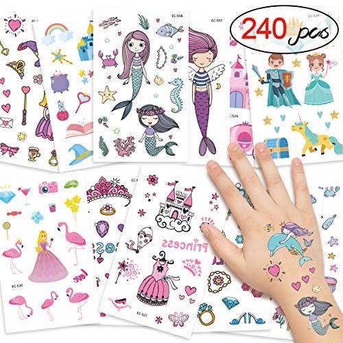 DYFFLE Tattoo Kinder, Kindergeburtstag Gastgeschenke, 240 Meerjungfrau Prinzessin Temporäre Tattoos Aufkleber, Kinder Tattoo Mädchen Für Kindergeburtstag Gastgeschenke Mitgebsel Mädchen