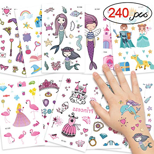 DYFFLE Meerjungfrau Party Tattoo Kinder Set, Meerjungfrau Kindergeburtstag - 240 Prinzessin Temporäre Tattoos Aufkleber, Kinder Tattoo Mädchen Für Kindergeburtstag Gastgeschenke Mitgebsel Mädchen