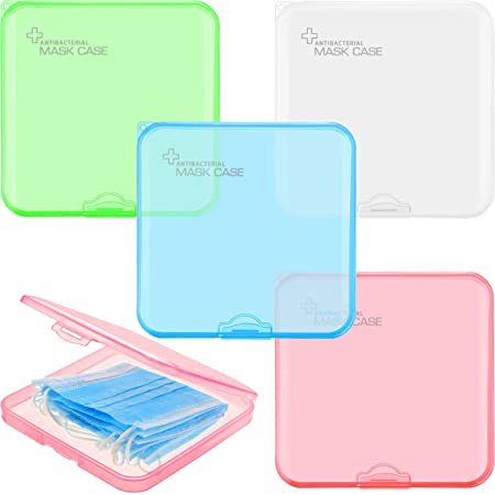 4 Pack Plastic Face Covering Storage Box Reusable Keeper Folder Portable Plastic Storage Boxes with Lids Storage Clip Foldable Storage Organizer Case for Easy Carrying