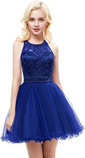 Aurora Bridal Women's Tulle Beaded Prom Dresses 2018 Short Homecoming Gown AH111