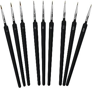 BUZIFU Pinceles Acrilico, 9 unids Pinceles Miniaturas 0 00 000 Pinceles Oleo Profesional Pinceles Finos Pinceles Pequeños para Pintar Pinceles de Detalle,para Cualquier Superficie y Variados Pigmentos