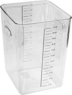 Rubbermaid Commercial Products Plastic Space Saving Square Food Storage Container For Kitchen/Sous Vide/Food Prep, 22 Quart, Clear (Fg632200Clr)