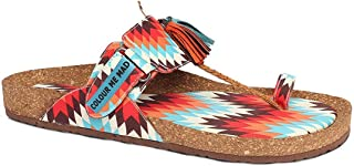 Colour Me Mad Orange Printed, Natural Cork, Washable, All Weather, Vegan, Made in India, PETA Certified, Changeable Insole, Women Sandals (Kolhapuri)
