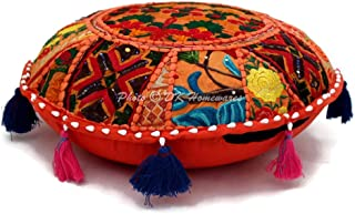 DK Homewares Indian Ethnic Floor Pillow Cover Bohemian Orange 18 Inch Patchwork Living Room Ottoman Stool Home Decor Embroidered Vintage Cotton Round Floor Cushions Seating for Adults 18x18