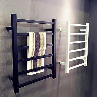 XSGDMN Radiador de riel de Toalla calentada, en Rack de Toallas eléctrico Cuadrado, Blanco y Negro Opcional, montado en la Pared para el baño en casa Hotel, Negro