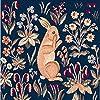 Tissage Art de Lys、中世Standing Rabbit ( Lapin Debout Médiéval )ダークブルー/グリーンFrenchジャカードタペストリー織枕カバー、14インチx 14インチ
