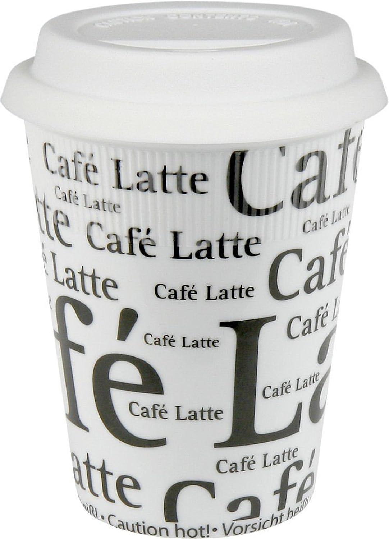Konitz Cafe Latte Writing on White 9Ounce Travel Mugs and Silicon Lids, White, Set of 2