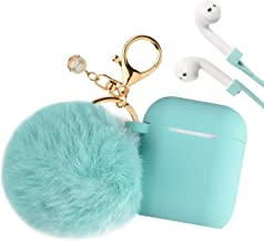 Airpods Case, Filoto Airpod Case Cover for Apple Airpods 2&1 Charging Case, Cute AirPods Silicon Case with Airpods Accessories Keychain/Skin/Pompom/Strap 2019 Summer Series (Mint Green)