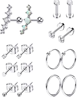 Vegolita 8Pairs Stainless Steel Cartilage Earrings for Women Girls CZ Stud Earrings Tragus Helix Conch Piercing Jewelry Set