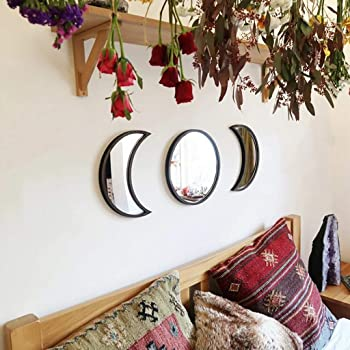 No Need to Punch hgfdh 3 pcs Scandinavian Natural Decor Acrylic Moonphase Mirrors Interior Design Wooden Moon Phase Mirror Bohemian Wall Decoration for Home Living Room Bedroom Decor Black2