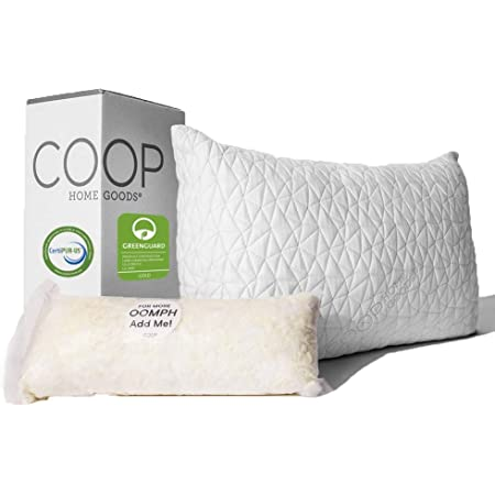Coop Home Goods - Premium Adjustable Loft Pillow - Cross-Cut Memory Foam Fill - Lulltra Washable Cover from Bamboo Derived Rayon - CertiPUR-US/GREENGUARD Gold Certified - Queen