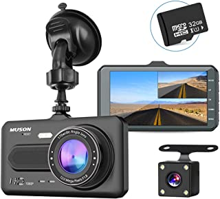 【進化版32Gカード付き】MUSON(ムソン)ドライブレコーダー 前後カメラ1080PフルHD高画質 170度広角 2カメラ G-sensor WDR LED信号機対応 [1年保証] 衝撃録画/駐車監視/動体検知(日本語説明書付属) 車載カメラ リアカメラ付 デュアルドライブレコーダー ドラレコ