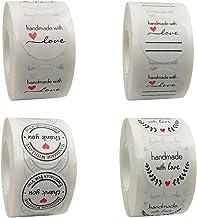 2000 pièces Kraft fait à la main avec amour rond autocollant de cuisson étiquette auto-adhésive ronde à la main autocollan...