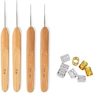 4 Pièces Crochets à Crochet et 0,5 mm 0,75 mm Dreadlocks Aiguille de Dreadlocks avec Poignees en Bambou, Outil Verrouillag...