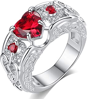HYLJZ Anello Heart Shaped Pink/Red Zircon Stone Rhodium Plated Women Angel Wing Ring