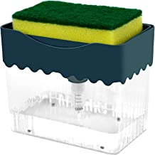 NANAO Soap Pump Dispenser and Sponge Holder, 2 in 1 One Hand Soap Pump and Sponges Caddy, Durable and Easy to Clean for Ki...