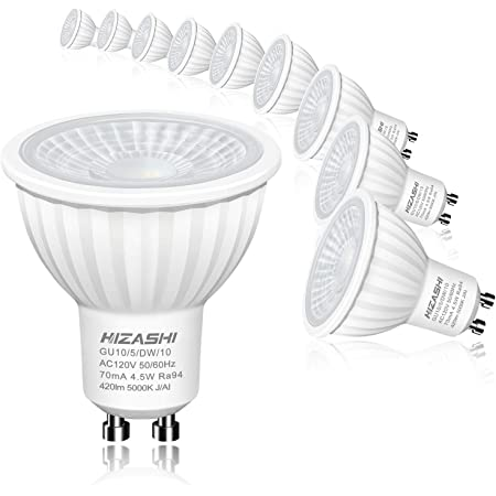10 x GU10 LED 50W = 4.5W QUALITY SPOTLIGHT LAMP WARM WHITE 3000K 360 LUMENS A+