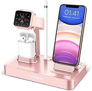 BENTOBEN 3 in 1 Charging Stand Compatible with Apple Watch Series 5/4/3/2/1, Charging Dock Station Desk Stand for Airpods 2/1 iPhone 11 Pro Max XR XS Max X 8 7 6S 6 Plus with Pencil Holder, Rose Gold