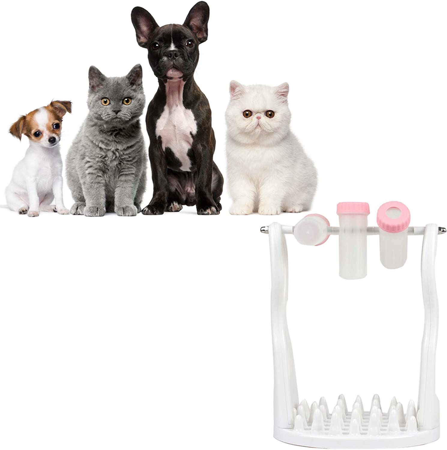 Activity Game by Spinning Bottle Funny Slow Food Feeder to Prevent Obesity Activity Game Turn Around Level 2 Gift for Pets with Bowl,Pink